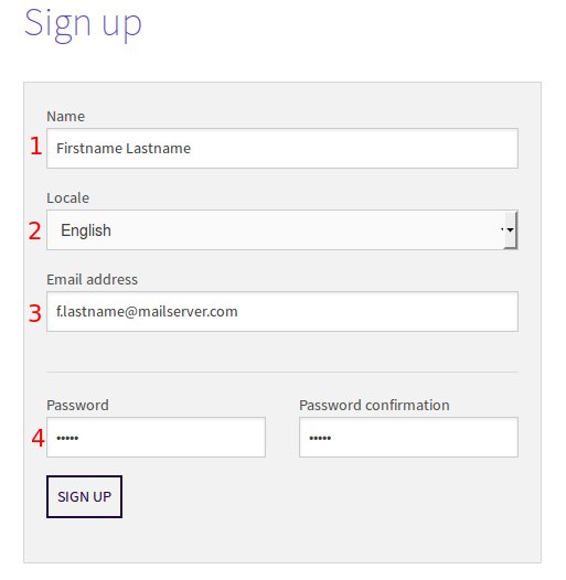 The sign up form for creating a new user account